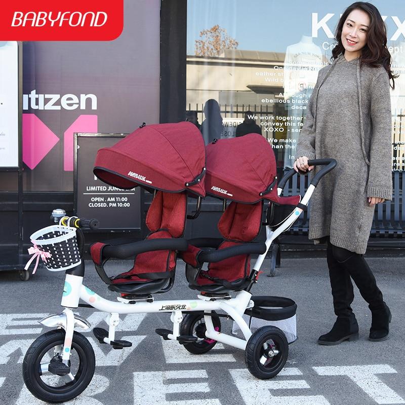 0 à 6 ans double tricycle inclinable pour s'asseoir poussette jumelle vélo léger chariot