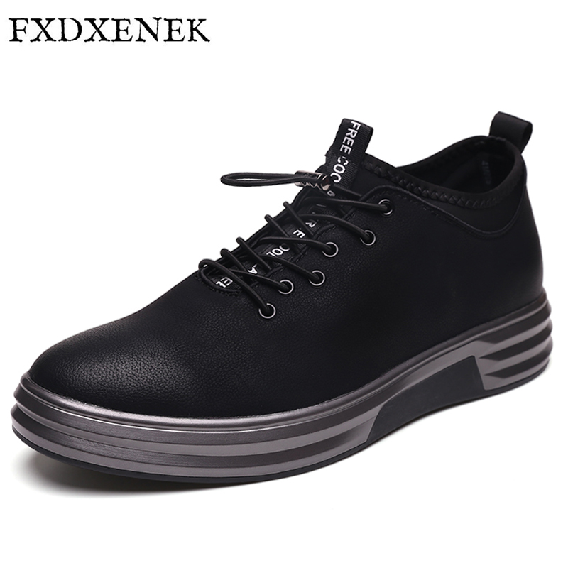 FXDXENEK 2017 New Men Shoes Autumn Pu Leather Casual Shoes High Quality Men Shoes Low top Lace-up Shoe Flats Zapatillas Hombre spring autumn high quality patchwork future leather high top men casual shoes lace up mixed colors flats ankle wrap mens shoes