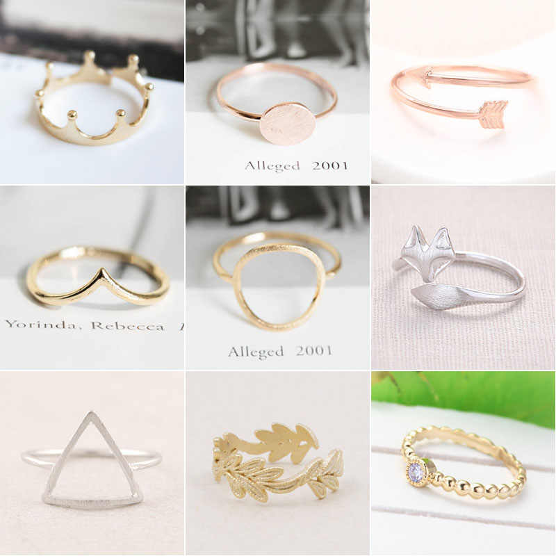 SMJEL Fashion Rings Punk Circle Arrow Knuckle Rings for Women Boho Wedding Ring Adjustable Moon Star Plant Leaf Finger Jewelry