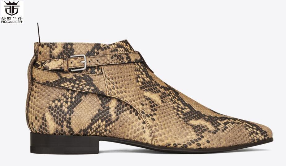 2019 FR. LANCELOT ใหม่มาถึงพิมพ์ snakeskin รองเท้าหนังแท้รองเท้าเชลซีพิมพ์ข้อเท้ารองเท้าแฟชั่นผู้ชายรองเท้าฤดูใบไม้ร่วงฤดูใบไม้ร่วง-ใน รองเท้าบู๊ทเชลซี จาก รองเท้า บน   2