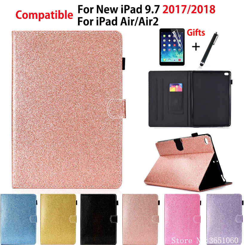 "Glitter Case For Apple iPad 9.7"" 6th Generation 2018 2017 A1893 A1954 Cover For iPad Air 1 2 Funda Tablet Stand Coque +Film+Pen"