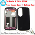 For HTC Desire X T328e Black White Gold New Original Housing Bezel Faceplate Front LCD Display Frame Cover Case + Battery door