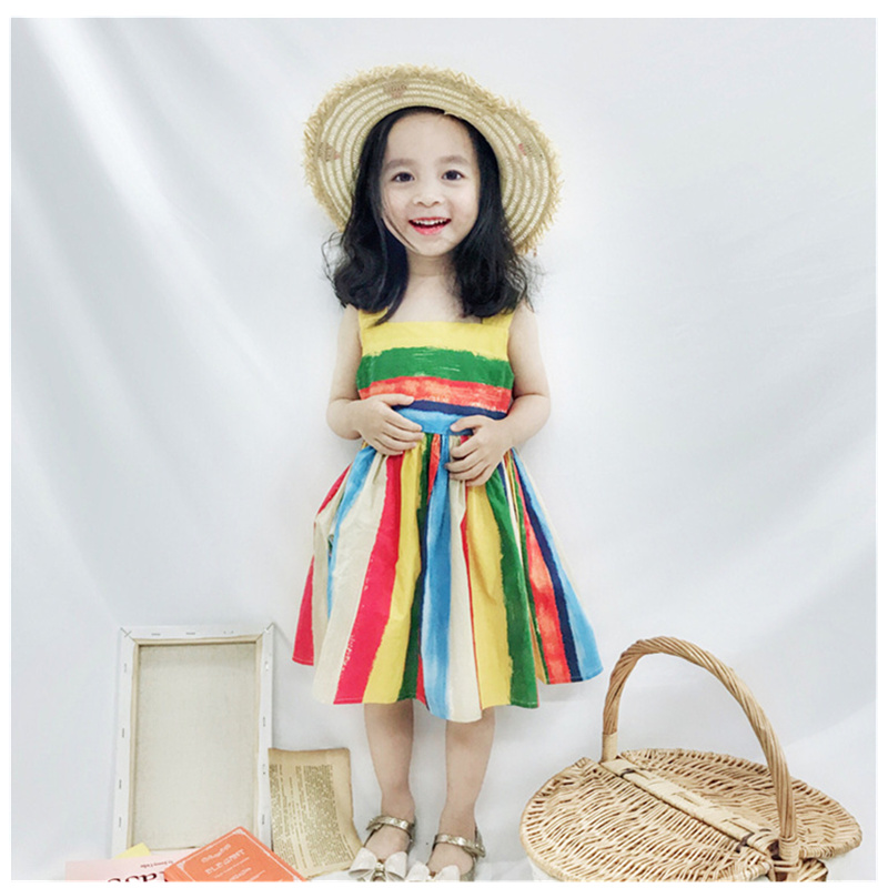 Girls summer dress rainbow candy colour sleeveless baby girls dresses children princess dress for party wedding