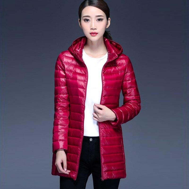 2018 New Brand Ladies Long Winter Warm Coat Women Ultra Light 90% White Duck Down Jacket Womens Hooded Parka Female Jackets