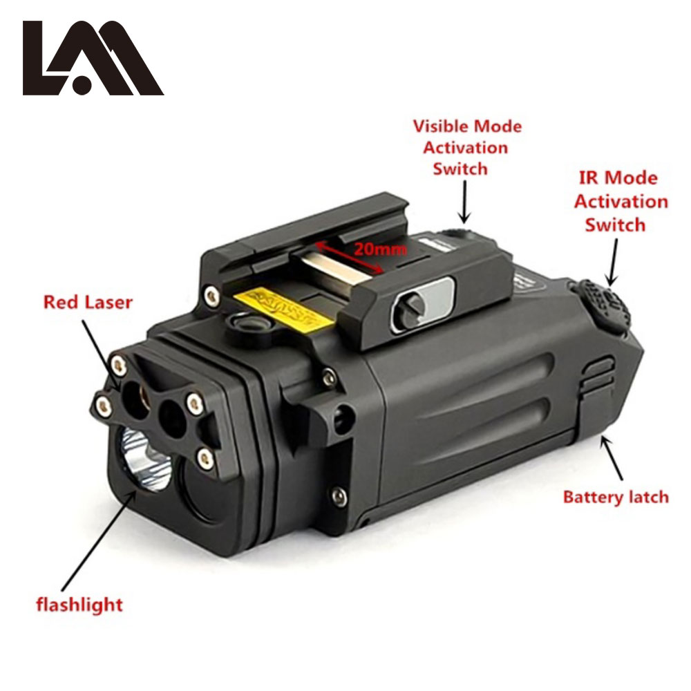 DBAL PL type light white LED 500 Lumens Flashlight With Red Laser IR LED Illuminator visible