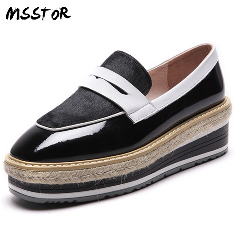 MSSTOR Straw Horsehair Flats Shoes Women Square Toe Mixed Colors Shallow Spring Fashion Casual Platform Slip-On Summer Shoes hizcinth 2018 spring women shoes shallow lace up square toe single shoes woman geometric stars casual flats platform shoes
