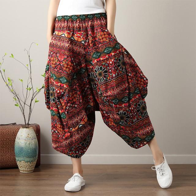 408ccba96b6 Bohemian Hippie Boho Retro Cotton Linen Elastic Waist Ethnic Print Pantolon Wide  Leg Harem Women Trousers Drop Crotch Pants