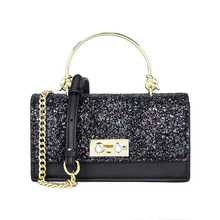 new and advanced texture gas sequins chain small square bag single shoulder Handbags oblique span womens