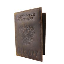 Russian National Emblem Äkta läder Passport Covers S596 Män Crazy Horse Leather Card Wallet Card ID Hållare Mörkbrun