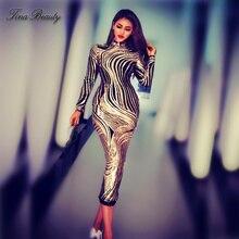 Luxury Sequin Celebrity Golden Dresses Women Stretch Midi Dress Elegant Plus Size Long Party for Prom Evening Vestidos