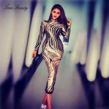e36227fe2dab Di lusso Con Paillettes Celebrity Abiti D oro Delle Donne di Stirata Midi  del Vestito Elegante Più Il Formato Lungo Del Partito .