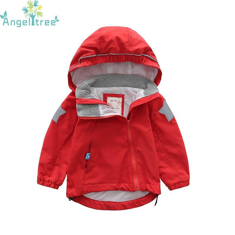 Angeltree Тренч для куртка для девочек 2018 Весенние жакеты ветровка с капюшоном мальчиков Детский дождевик верхняя одежда детская одежда 1073
