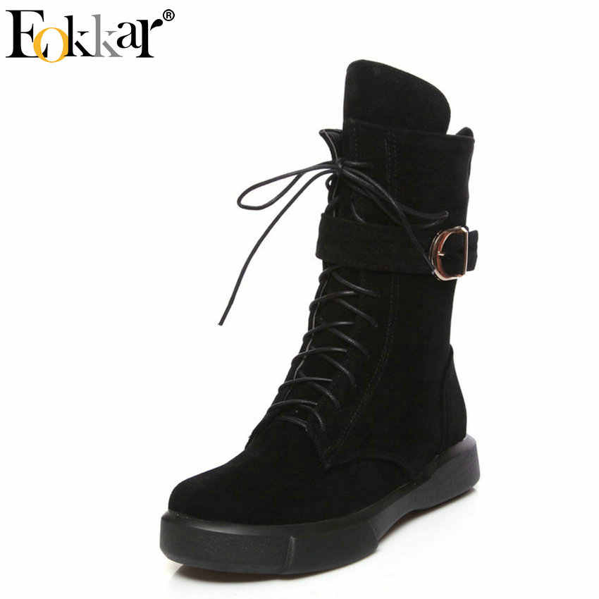 Eokkar/2019 женские ботильоны с пряжкой зимние ботинки на шнуровке Универсальные