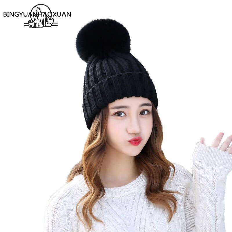 BINGYUANHAOXUAN Mink And fox Fur Ball Cap Pom Poms Winter Hat For Women Girl Hat Knitted Beanies Cap Brand New Thick Female Caps 2016 new beanies women hat winter outdoor warm caps mink and fox fur ball cap pom poms ear protection hats for girl colorful