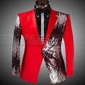 Moda Lantejoulas dos homens Ternos Blazers Slim Fit Vermelho Roupas Palco Cantor Masculino Noivo Do Casamento Do Smoking do baile de Finalistas Para Os Homens