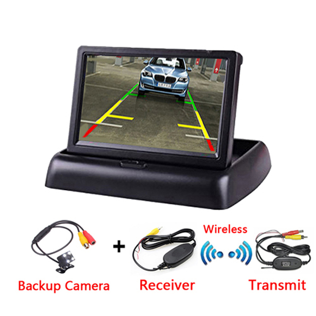 4.3 Inch TFT LCD Car Monitor Foldable Monitor Display Reverse Camera Parking System for Car Rearview Monitors NTSC PAL