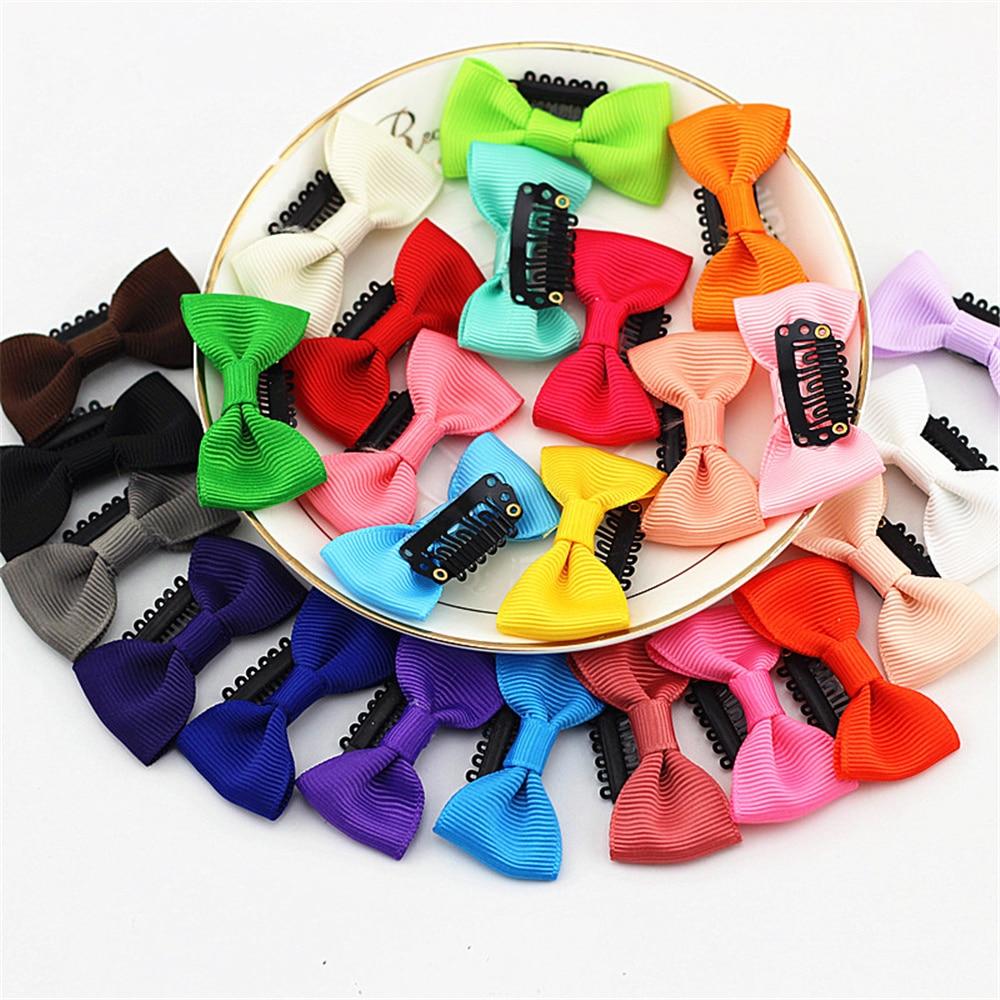 12pcs/lot Hot Sale BeBe Colorful Little Bows Hairpins Little Girl Grosgrain Ribbon Hair Clip Bows Hairgrip Cute Hair Accessories