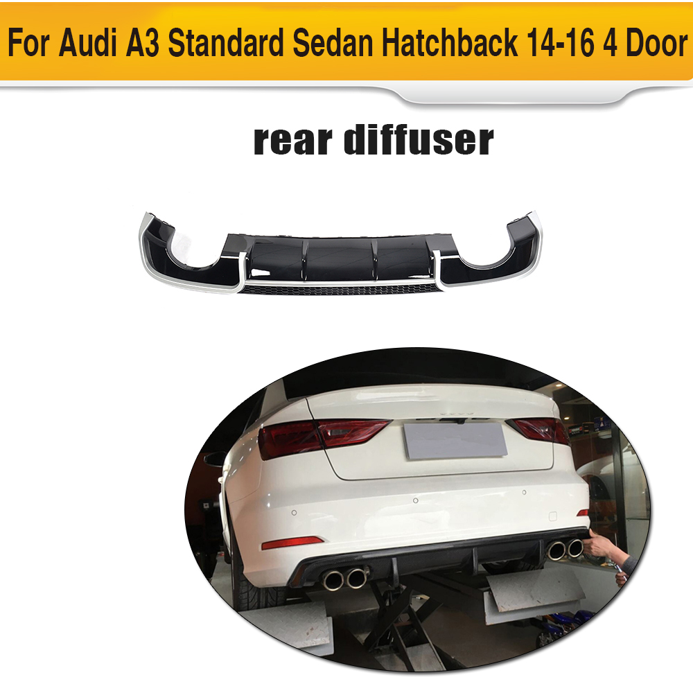 Black FRP Car Racing Rear Diffuser Lip Spoiler for Audi A3 Standard Sedan Hatchback 14-16 4 Door 8V Non Sline Four outlet carbon fiber car moulding decorative fins canards front sticker splitter for audi s3 sline sedan 4 door 13 16 not a3 standard page 8