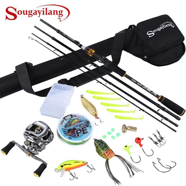 Sougayilang Cobra 1.8M 2.1M Fishing Rod with 11+1BB Baitcasting Fishing Reel Combo Saltwater Fishing Gear Tackle Tools Kit Set