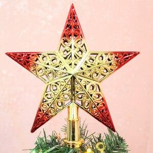 Image 2 - น่ารักที่มีสีสัน Star ต้นคริสต์มาส Hollow ห้าดาว Sparkle Hang Xmas เครื่องประดับตกแต่ง Treetop Topper มิติ