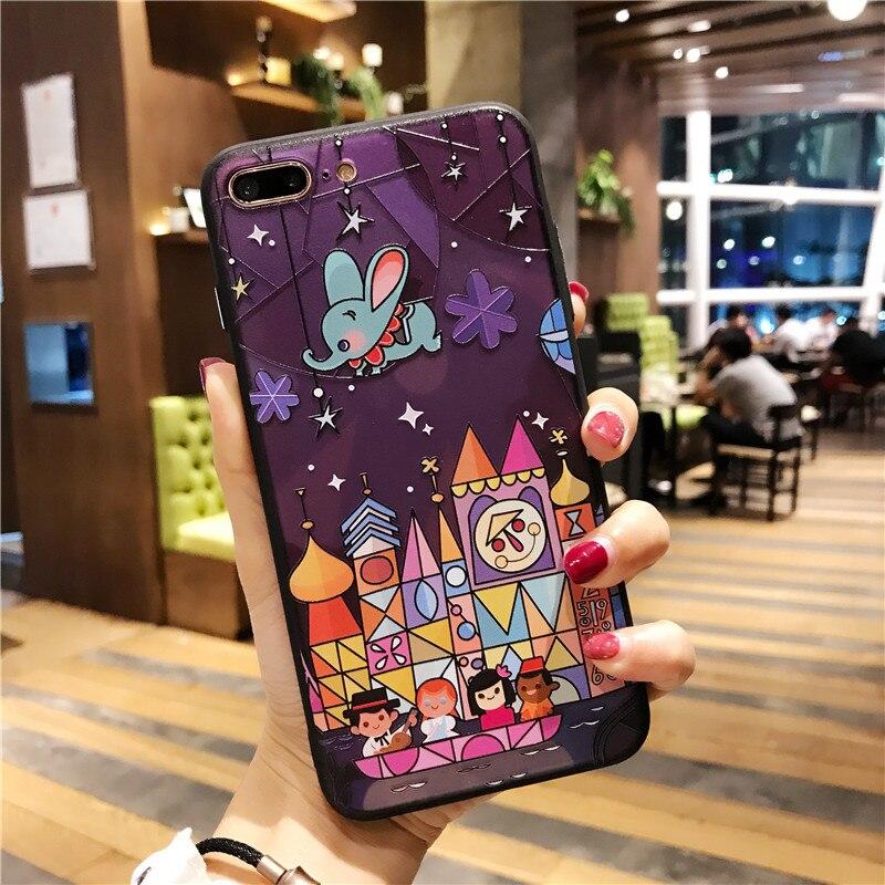Cartoon Fairy tale castle 3D Relief Case for iphone 7 7plus Fireworks hard case For iphone X 6 6s 6splus 6plus 8 8plus cover