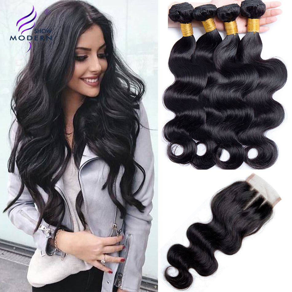 Modern Show Malaysian Body Wave Human Hair Bundles with Closure 3 Bundles Deal with Lace Closure Three Part 4 Pcs/Lot Non Remy