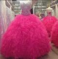 Faísca Hot Pink Vestidos Quinceanera Com Lantejoulas Frisado Vestidos De 15 Anos Meninas de 15 Anos Vestido Para 16 Swee 16 do baile de Finalistas
