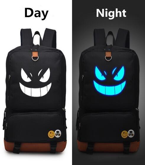 ФОТО Pokemon GO Black luminous glow in dark Backpack PU Shoulders Bag Laptop Bag Schoolbag
