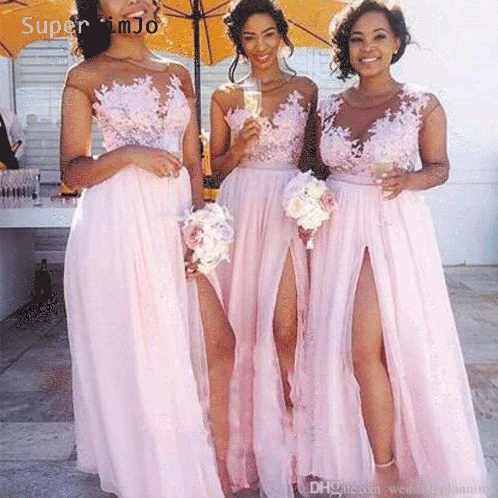 SuperKimJo Vestido Madrinha Blush Pink Lace Applique Bridesmaid Dresses Long 2019 Chiffon Sexy Wedding Guest