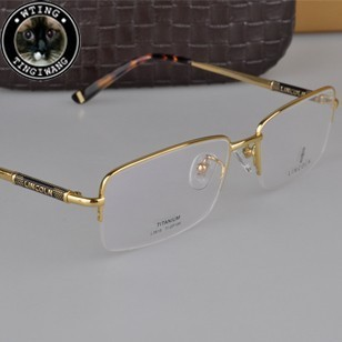brand lincoln original genuine eyeglasses 18k gold noble eyewear semi rimless titanium glasses frame men women