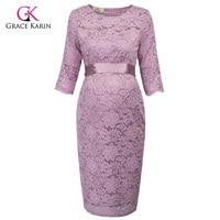 Grace Karin Short Evening Dresses 2018 Bodycon Sheath Half Sleeve Lace Formal Maternity Gowns Elegant Wedding