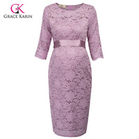 Grace Karin Short Evening Dresses 2018 Bodycon Sheath Half Sleeve Lace Formal Maternity Gowns Elegant Wedding