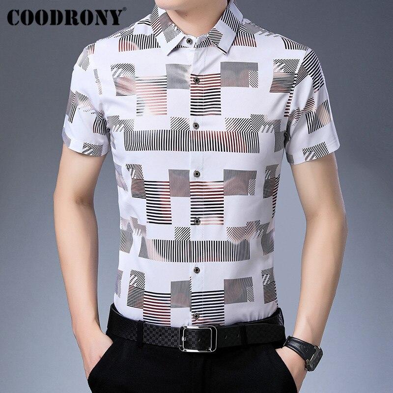 COODRONY Business Casual Shirts Fashion Plaid Shirt Men Clothing 2019 Summer Cool Short Sleeve Men Shirt Camisa Masculina S96027