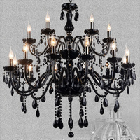 Black K9 Crystal Chandelier Lustres De Cristal Chandelier E14 Candle Black Lustres Cristal Chandelier Light Fixture Include Bulb