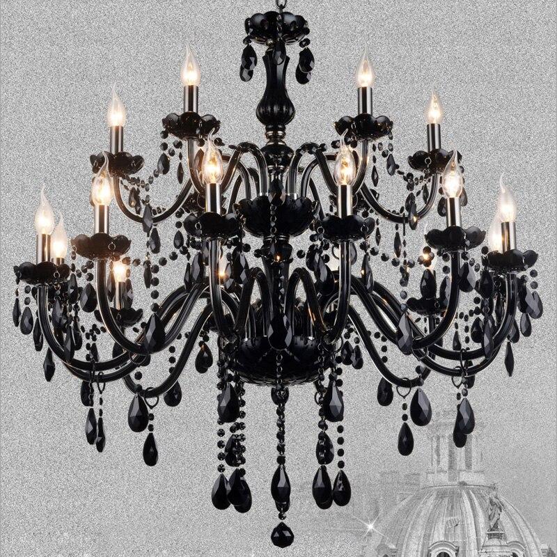 Noir K9 Lustre En Cristal Lustres De Cristal Lustre E14 Bougie Noir Lustres Cristal Lustre Luminaire Inclure Ampoule
