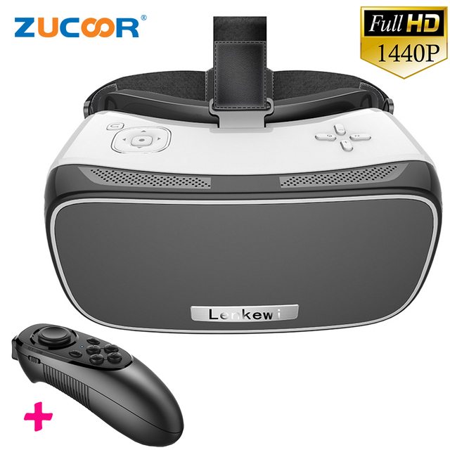 All In One V2 3D VR BOX Virtual Reality Google Cardboard Movie Game Glasses 5.5 inch IMAX Screen 1080P WiFi + Bluetooth Gamepad