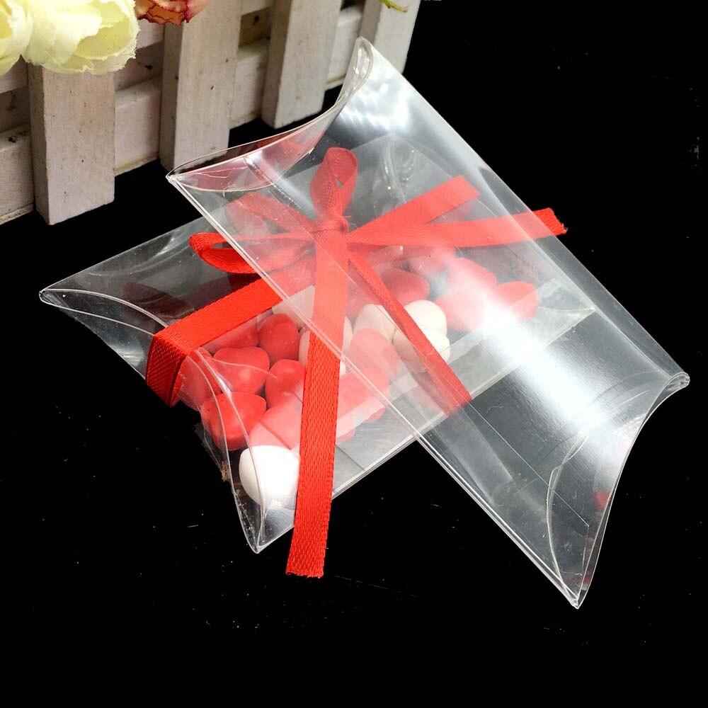 25pcslot Pvc Pillow Shape Candy Boxes Clear Transparent Party