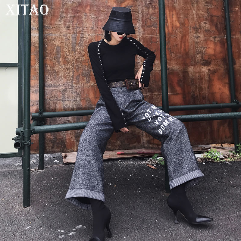 [XITAO] Loose Women Fashion 2019 Spring Summer Button Fly Full Length   Pants   Female Print Letter Loose   Wide     Leg     Pants   DLL1564