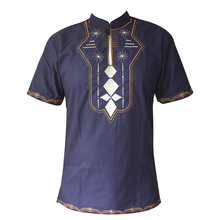 Bazin Rache Embroidery Africa Clothes Short Kaftan Men`s Dashiki African Wedding Tunic Attire