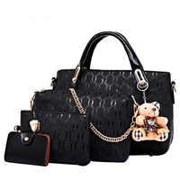 女性ハンドバッグ 4 ピース/セット pu レザーファッションデザイナーハンドバッグショルダーバッグ黒ヴィンテージ女性のメッセンジャーバッグメインクマ