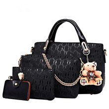 Women  Handbags 4 Pcs/Set pu Leather Fashion Designer Handbag Shoulder Bag Black Vintage Female Messenger Sac A Main Bear