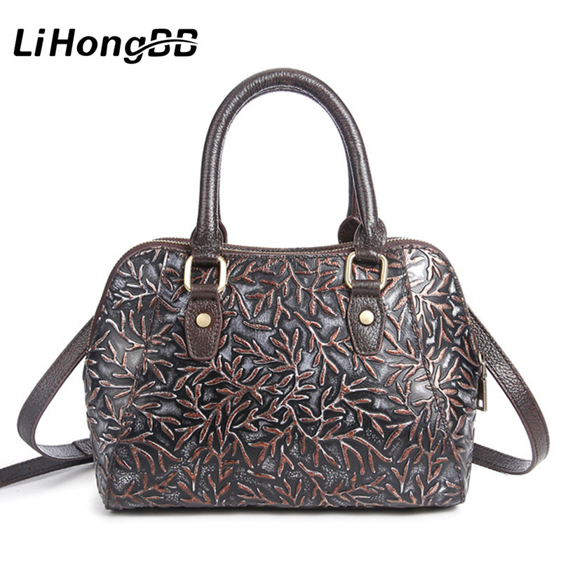 New Genuine Leather Messenger Bags Famous Brand Shoulder Bag Floral Print Women's Handbag Vintage Clutch Tote bolsa feminina 2017 new clutch steam punk female satchel handbag gothic women messenger bags shoulder bag bolsa shoulder bags tote bag clutches