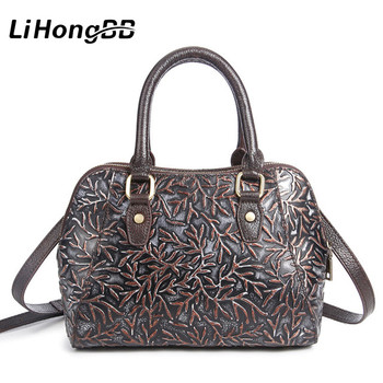 New Genuine Leather Messenger Bags Famous Brand Shoulder Bag Floral Print Women's Handbag Vintage Clutch Tote bolsa feminina