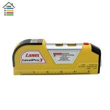 Free Shipping Multipurpose Level Laser Horizon Vertical Measure Tape Aligner Bubbles Ruler 8FT
