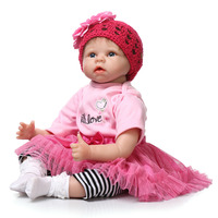 22inch 55cm Silicone baby reborn dolls lifelike newborn girl babies toy for child pink princess doll birthday gift brinquedos