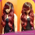 Полные парики шнурка с челкой/объемная волна фронта шнурка wige # 1b/red ombre парик человеческих волос Бразильский виргинский парик волос для черный женщины