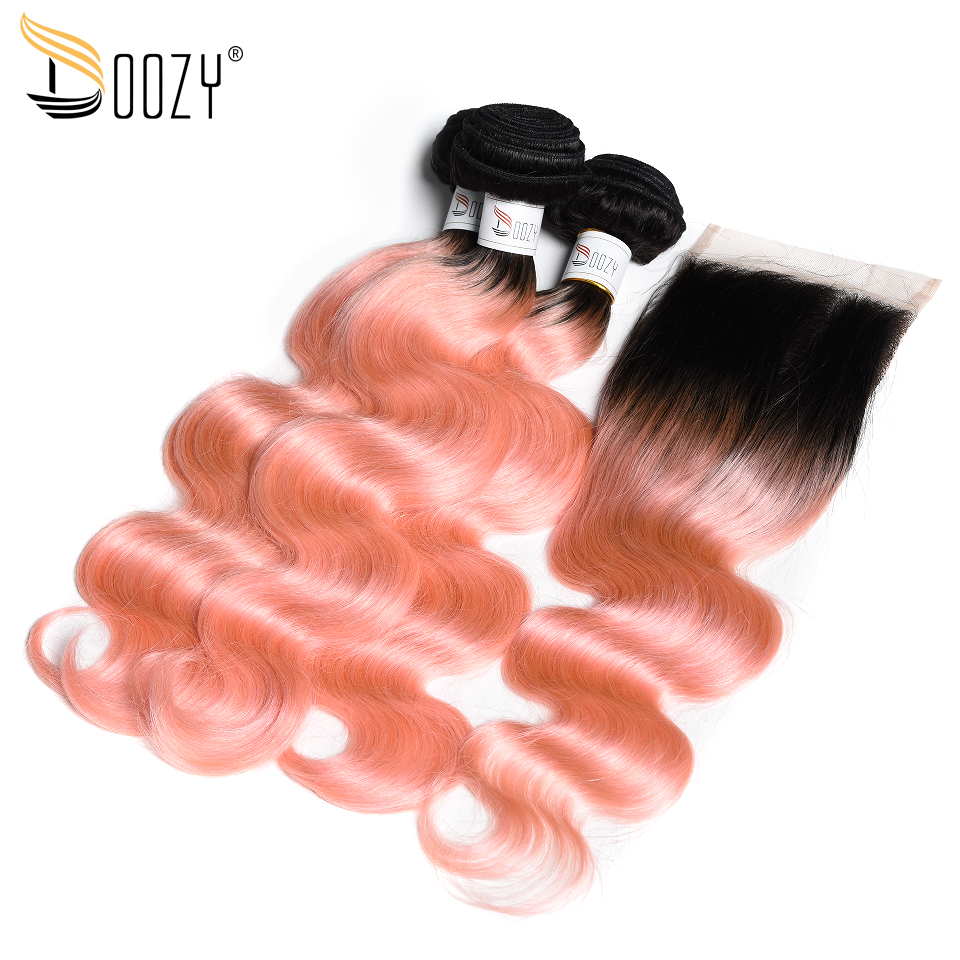 Doozy Body Wave Ombre 1B/Pink Human Hair Extensions Rose Gold Remy Brazilian Human Hair 3 Bundles With 4x4 Lace Closure