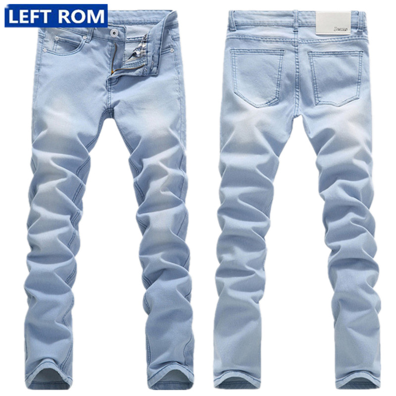 2017 New Slim Men Cowboy Trousers Fashion Business Mens Jeans Popular Hot Sale Size 28 29-36 Pants Male Light Blue Cool LEFT ROM new men slim straight locomotive jeans denim jeans cowboy fashion business designer famous brand men s jeans trousers pant 29 36