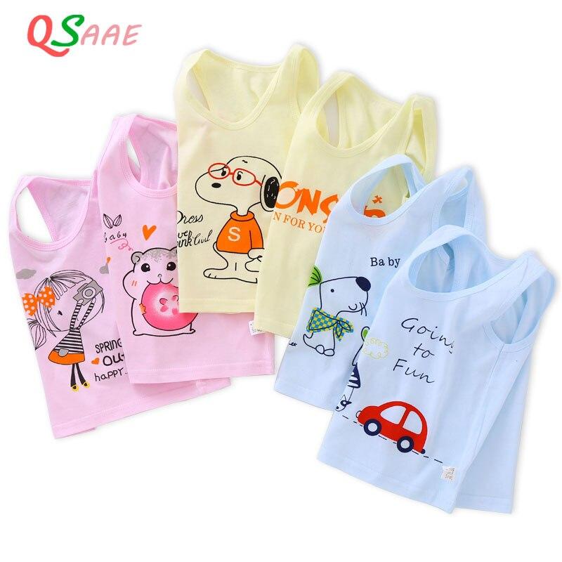 תינוק בני בנות טנקי חולצות מוצק צבעים בוהקים ילדי אפוד חוף Camisoles ילדים תחתוני 100% כותנה ללא שרוולים חולצות VE006