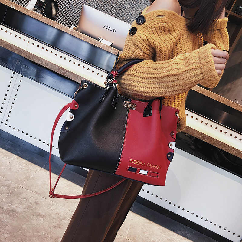 bb1fdfb0458 Bag Women Handbag Fashion Women Bag PU Leather Tote Bag Ladies Designer  Patchwork Handbags Female Casual Large Shoulder Bag